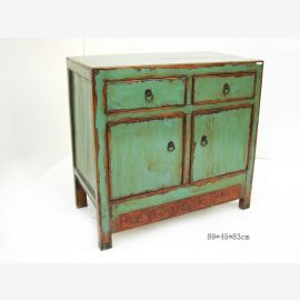 Solid cabinet from China, pale green, metallic clasps