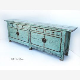 Chinese cabinet made of solid wood in turquoise, used look