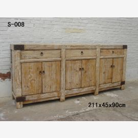 Chinese first-class wooden cabinet in used-look look with metallic clasps