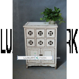 Chinese cabinet made of real wood in white with fine applications