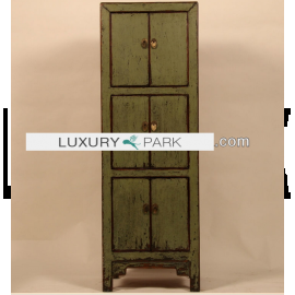 Chinese solid wood cabinet in dark green with clear contours