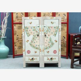 Chinese hardwood cabinet in white with fine painting and drawers