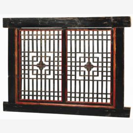solid wooden door from China with geometric cut-outs made of dark wood
