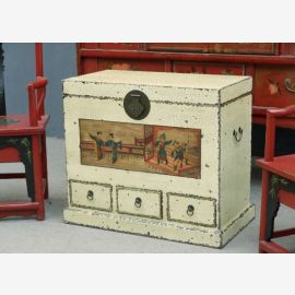 The Chinese chest is made of solid wood in used look