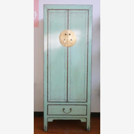 Chinese cabinet made of impeccable wood in light turquoise with applications