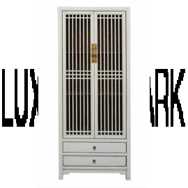 Chinese cabinet made of white hardwood with elaborate detail
