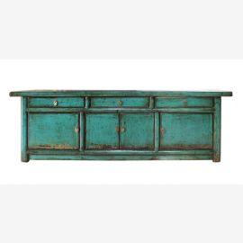 Chinese sideboard made of high-quality wood in used look in turquoise
