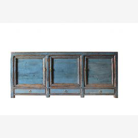 Solid wood sideboard from China in strong blue in used look