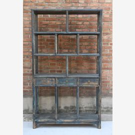 Chinese shelf made of solid natural wood in dark blue