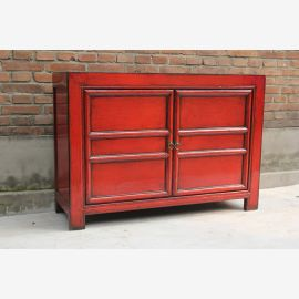 Classic real wood cabinet from China in strong red.
