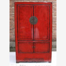 First-class wooden cabinet from China in strong red with metal elements