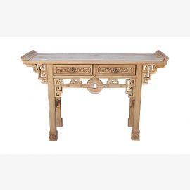 Real wood table from China decorated with elaborate details.