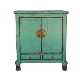 Chinese cabinet made of best wood in used-look with metal applications