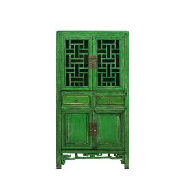 Chinese cabinet made of solid wood with geometric inserts.