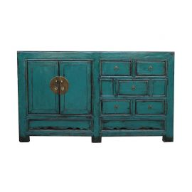 Chinese sideboard made of solid wood in peacock blue in used look