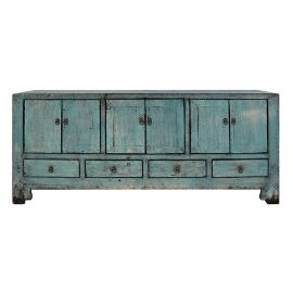 Chinese sideboard in used look in turquoise, drawers