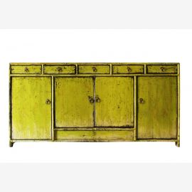 Chinese sideboard made of natural wood in fashionable yellow