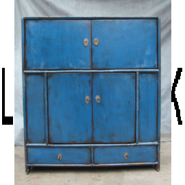 Sideboard made of solid wood from China in used look, strong blue