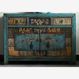 Chinese cabinet made of solid wood with elaborate painting, turquoise