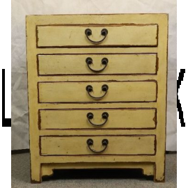 Solid hardwood drawer cabinet in friendly yellow