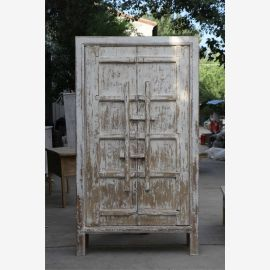 Modern solid ivory cabinet in used look with clasps