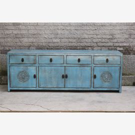 Real wood cabinet from Asia in used look, turquoise, carvings