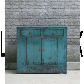 Asian cabinet made of impeccable wood in turquoise with metal buckles