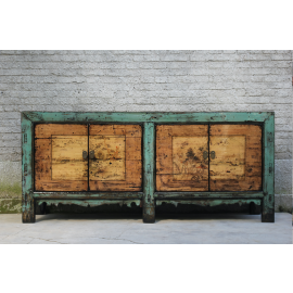 Exceptional wooden cabinet from Asia with elaborate painting and metal elements