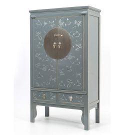Natural wooden cabinet from Asia with elaborate painting and metal elements