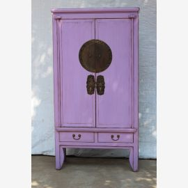 Asian cabinet made of natural wood in modern lilac with applications