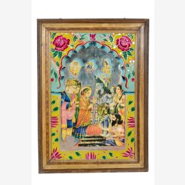 India 1950 image with old wall frame traditional motif Rajasthan