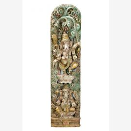 Great carved wooden wall picture of the elephant god Ganesha