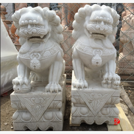 Asian dragon sculpture couple sitting on pedestals white marble