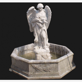Angel sculpture large fountain for park white marble classicism