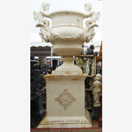 Ancient Old white amphora on pedestal