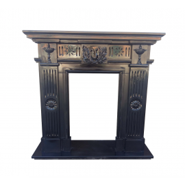 Black marble fireplace with floral ornaments