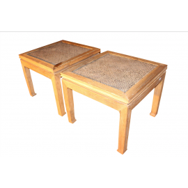 Elm wood couch table pair of bamboo insert