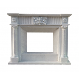 Solid floral marble fireplace