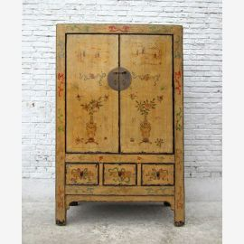 1860 CHINA Shanxi magnificent painted great elm wood cabinet armadio ID SD.D.48