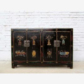 China 1910 classic chest of drawers with brass black lacquer paintings