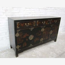 China colonial style chest of drawers in black leather effect doors and drawers