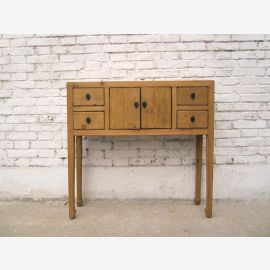 China small sideboard table light pine wood wardrobe with 4 drawers
