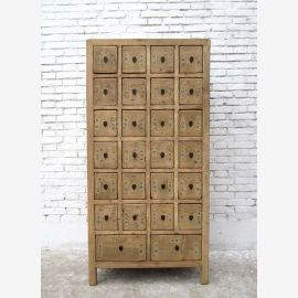 China high chest of drawers pine apothecary cabinet with 26 drawers Natural wood