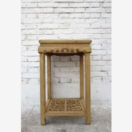 China magnificently decorated flowers pillar pedestal of solid elm