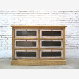 China's large chest of drawers 6 drawers pine cabinet fronts bright dark