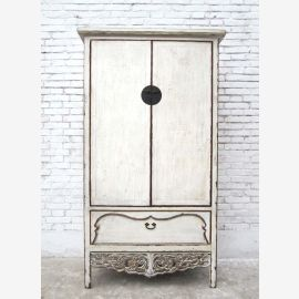 Shandong, China 1860 white lacquered cabinet decorated in romantic style