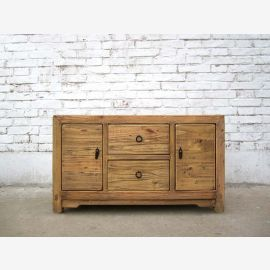 China Shandong solid pine chest of drawers circa 1910 rustic light