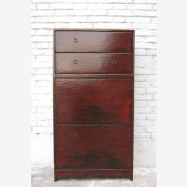 Practical shoe cabinet China four broad subjects reddish brown pine antique look