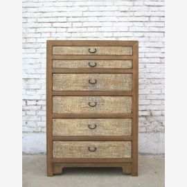 China's large chest of drawers 6 drawers pine natural body cream fronts
