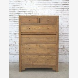 China high chest of drawers 6 drawers timeless shape light pine wood